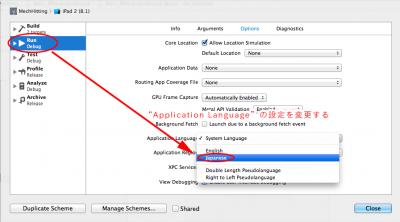 Application Languageの設定